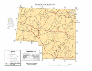 Marion County Map |  Printable Gis Rivers map of Marion Alabama