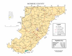 Monroe County Map |  Printable Gis Rivers map of Monroe Alabama