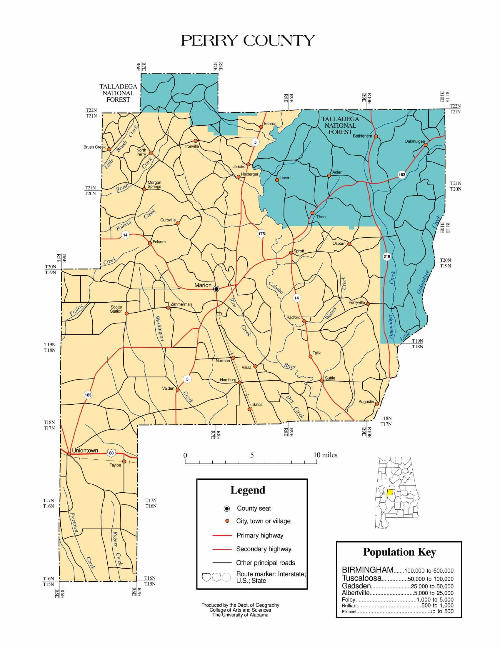 Perry County Map |  Printable Gis Rivers map of Perry Alabama