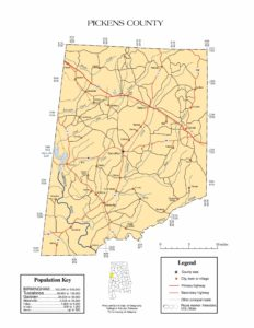 Pickens County Map |  Printable Gis Rivers map of Pickens Alabama