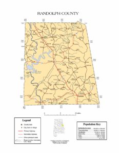 Randolph County Map |  Printable Gis Rivers map of Randolph Alabama