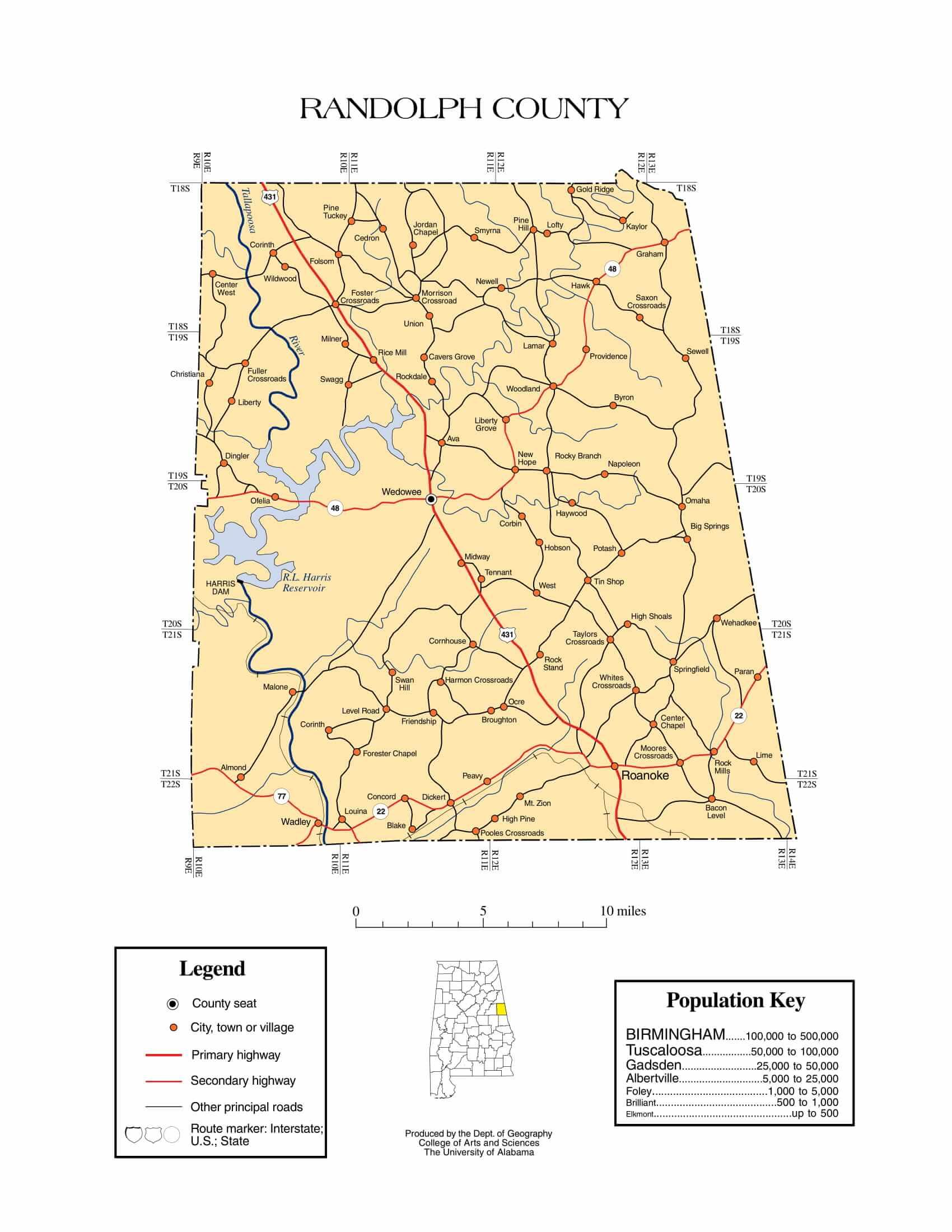 Randolph County Map |  Printable Gis Rivers map of Randolph Alabama