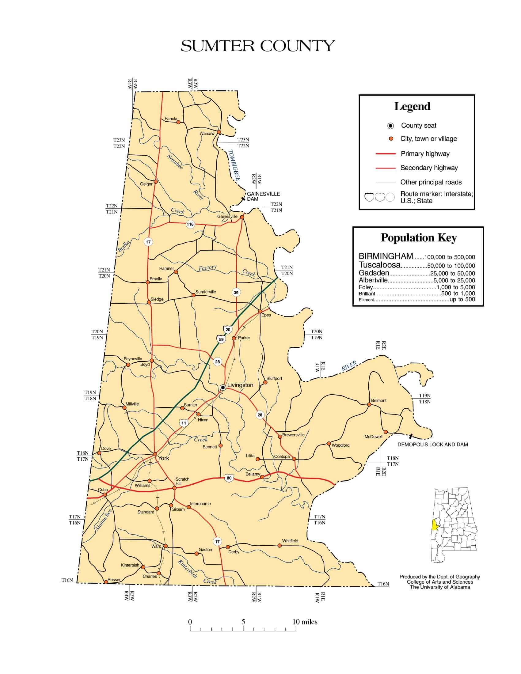 Sumter County Map |  Printable Gis Rivers map of Sumter Alabama