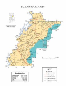 Talladega County Map |  Printable Gis Rivers map of Talladega Alabama