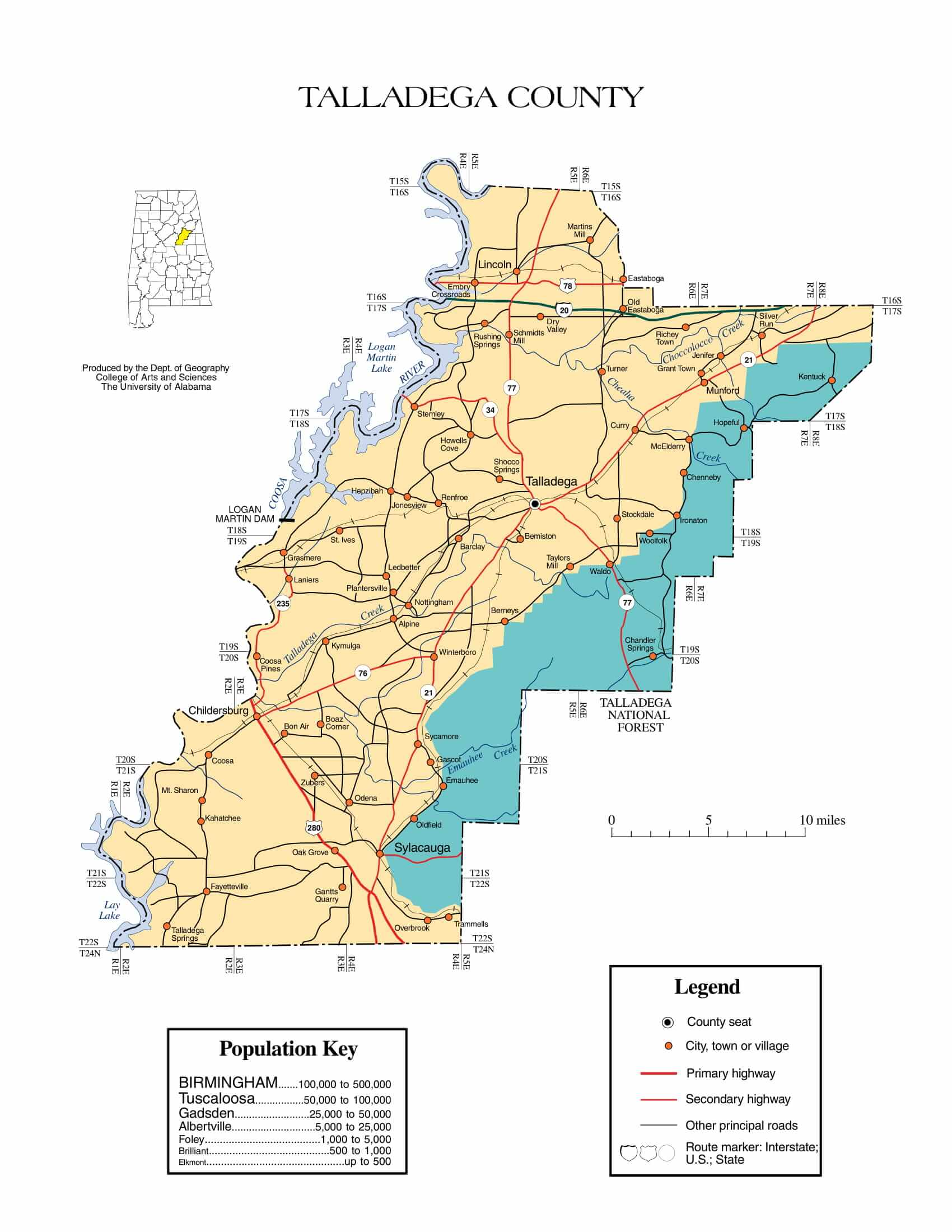 Talladega County Map |  Printable Gis Rivers map of Talladega Alabama