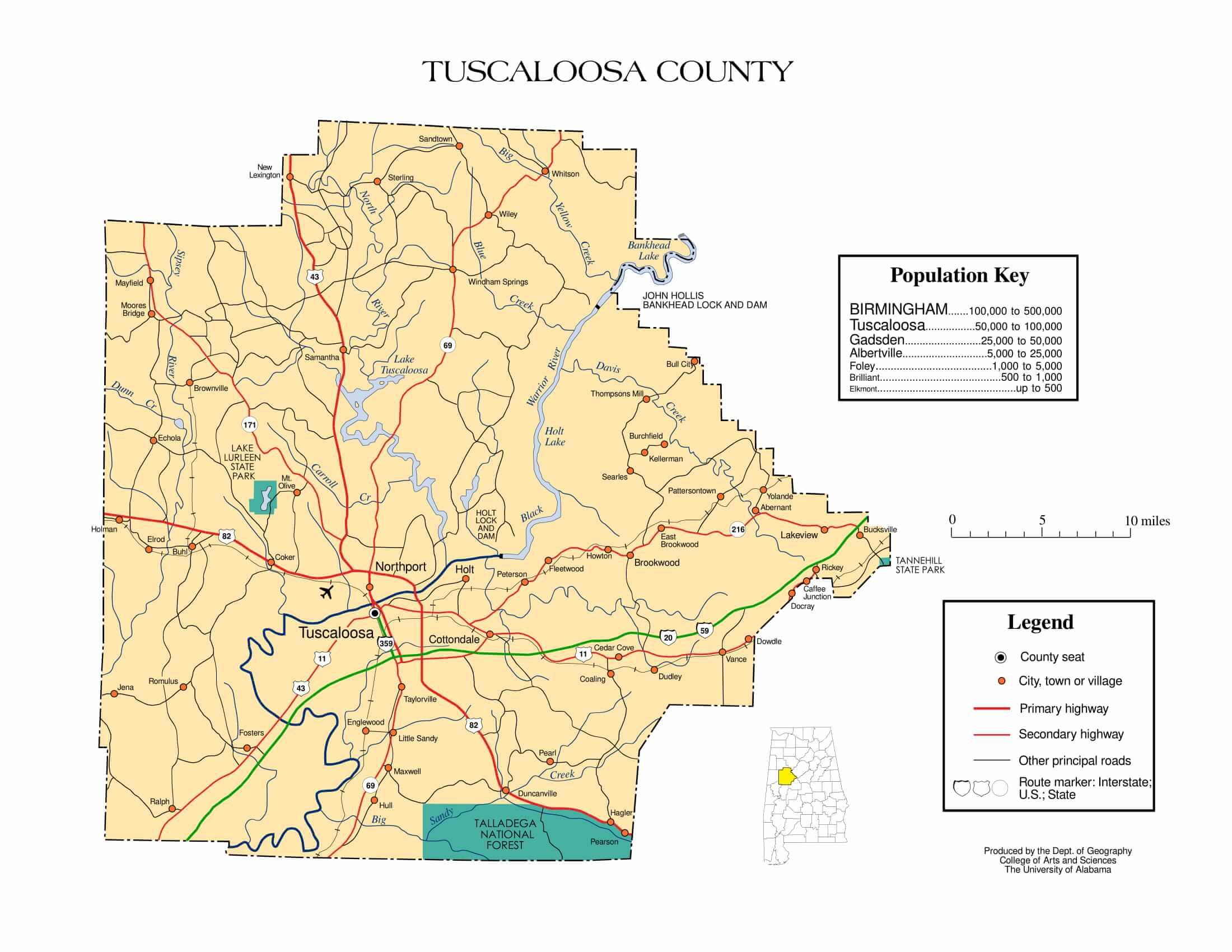 Tuscaloosa County Map |  Printable Gis Rivers map of Tuscaloosa Alabama