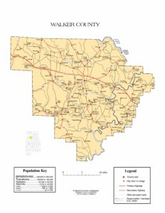 Walker County Map |  Printable Gis Rivers map of Walker Alabama