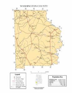 Washington County Map    Printable Gis Rivers map of Washington Alabama