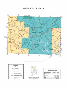 Winston County Map |  Printable Gis Rivers map of Winston Alabama