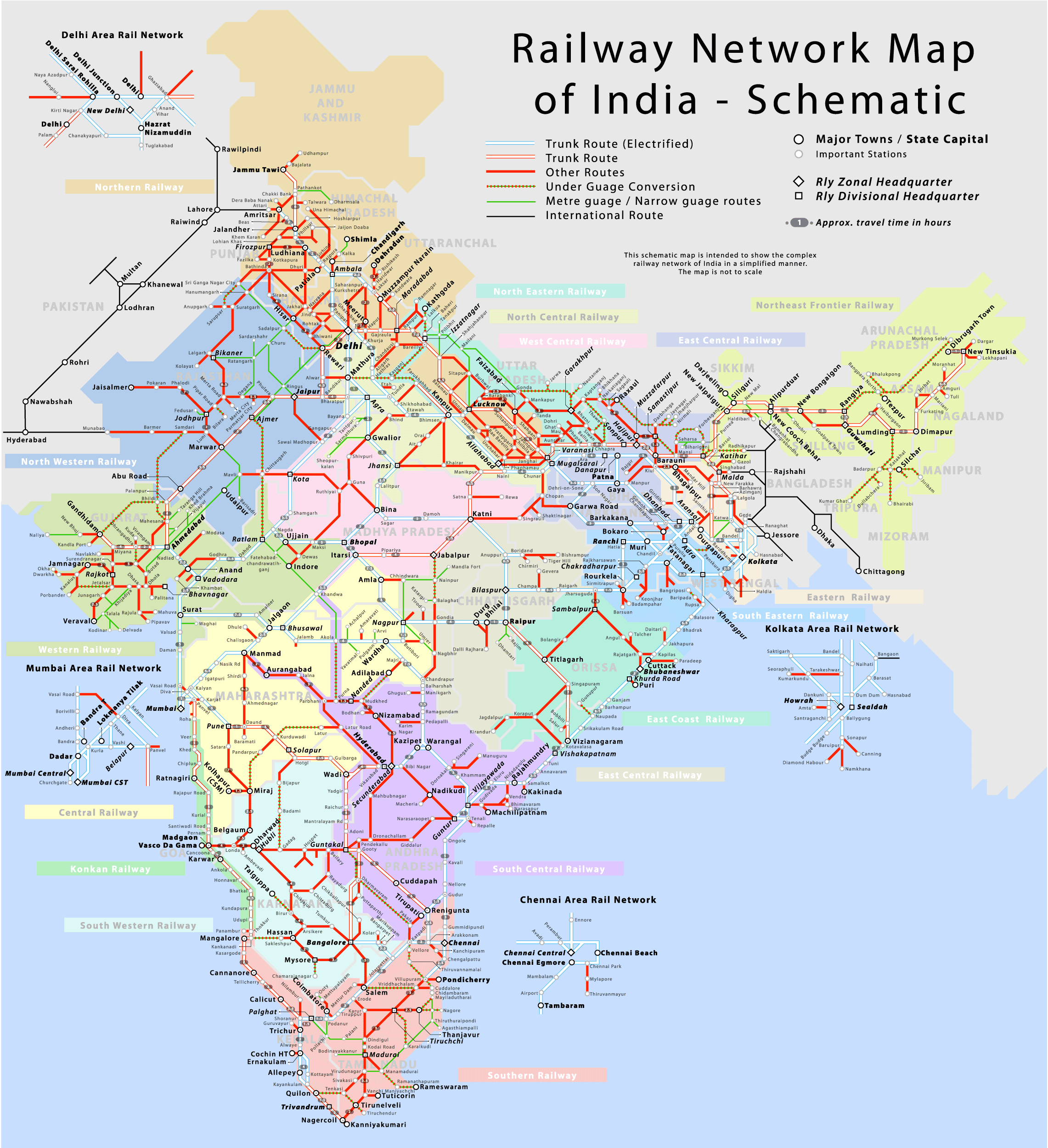 Railway Map of India   Indian Railways Network Map