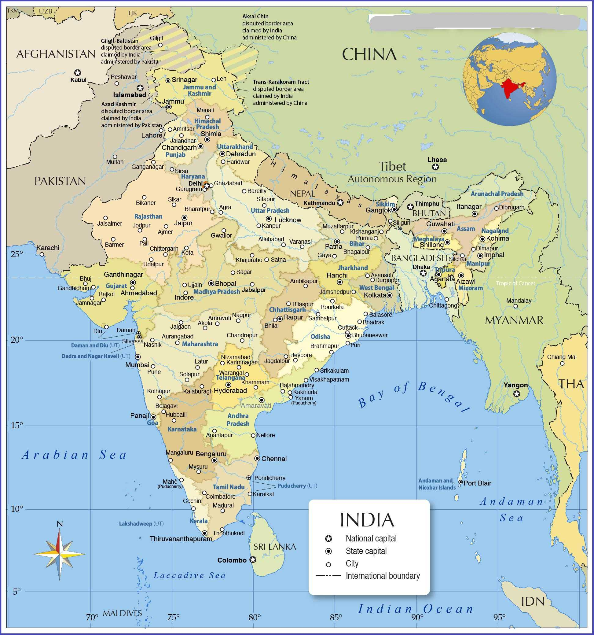 Political Map of India | Indian Political Map