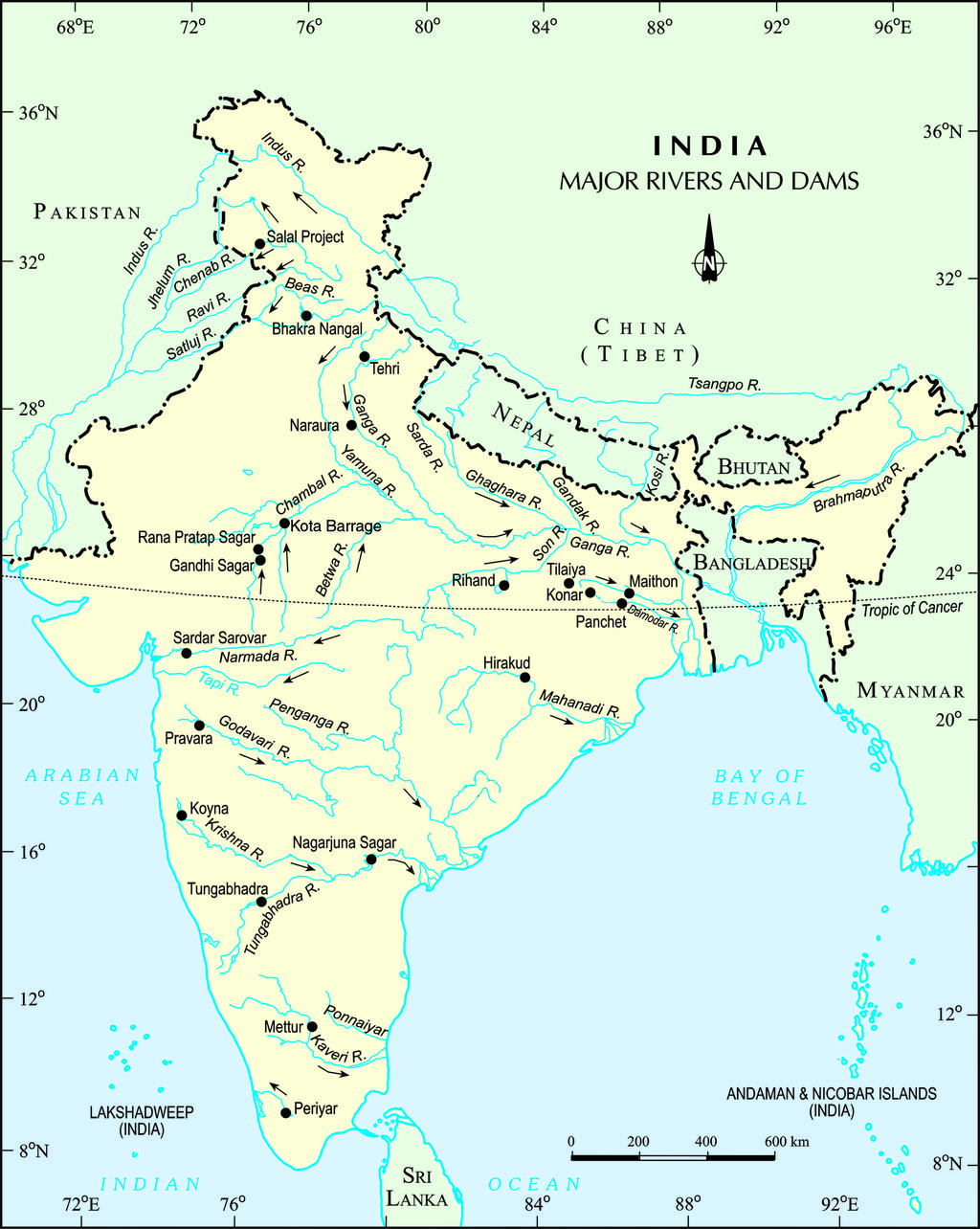 River Map of India   Major Indian Rivers Map