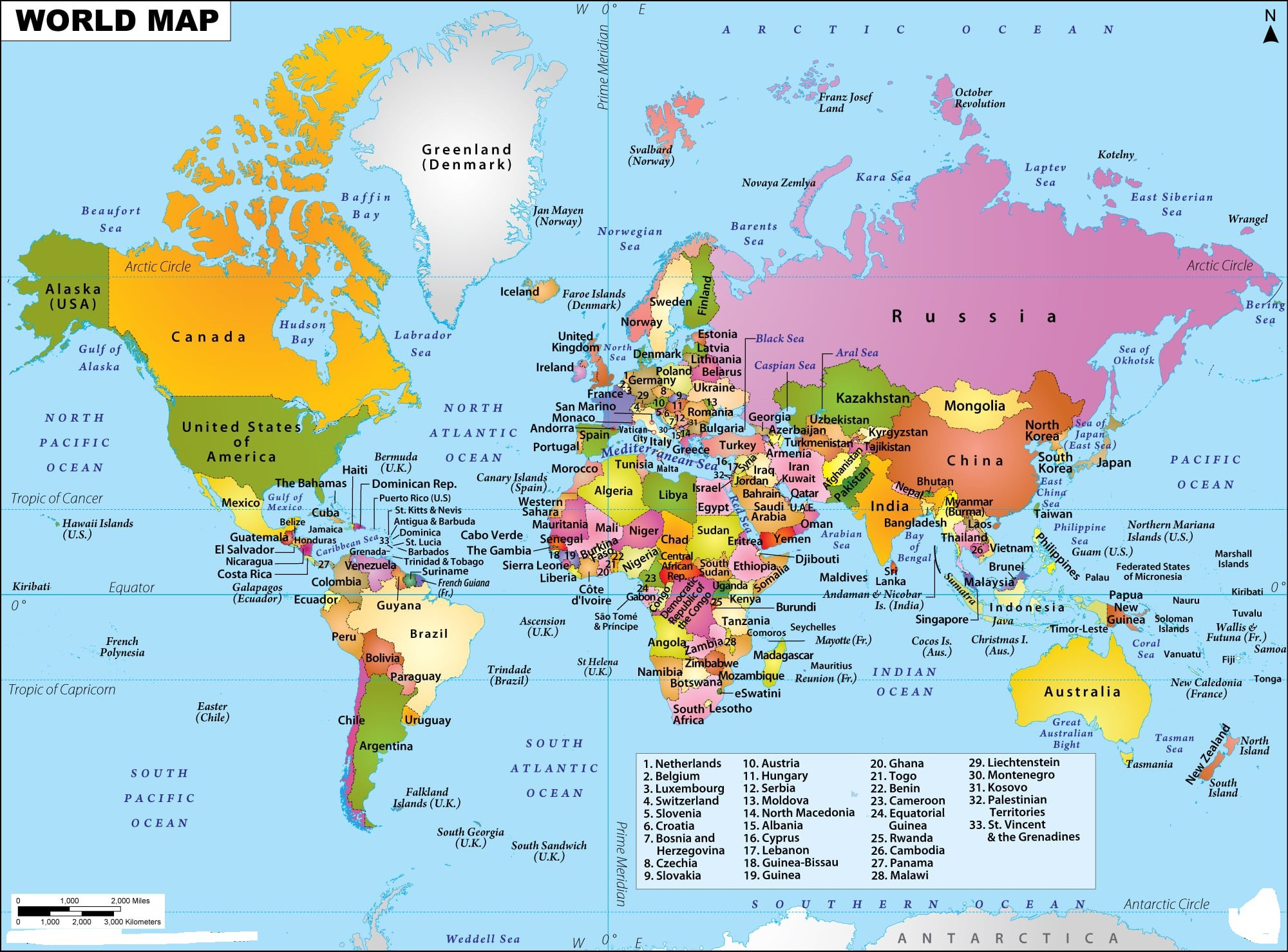 World Map With Countries | World Continents Map