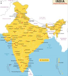Airport Map of India | International And Domestic Airport Map