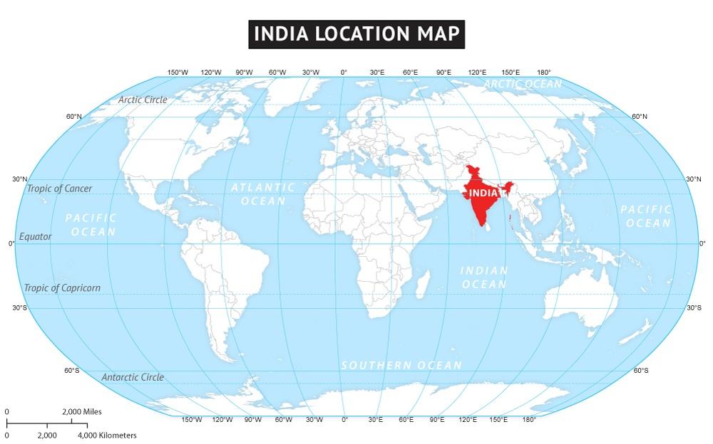 Latitude And Longitude Map of India   Where is India ?