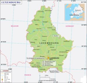 Airport Map of Luxembourg | Major Luxembourg Airports
