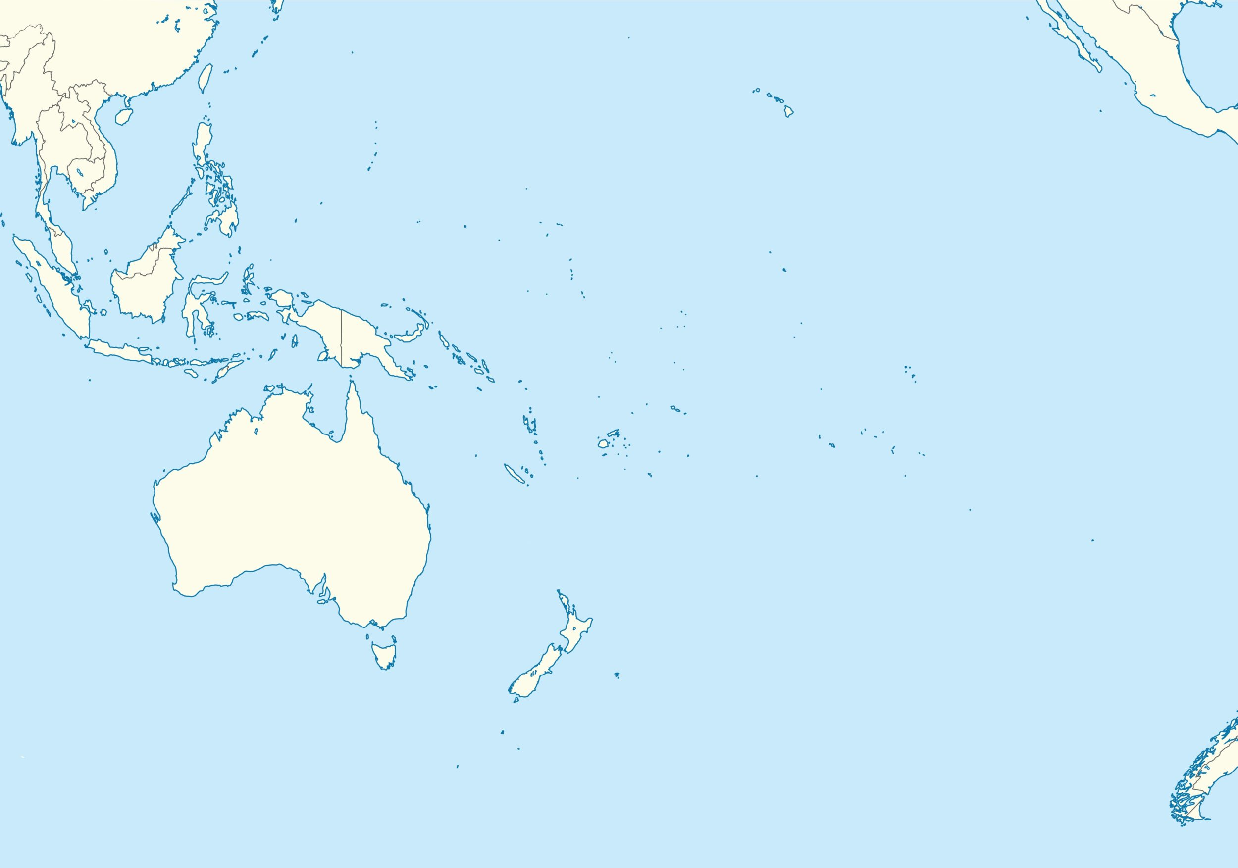 Printable Outline Map of Oceania