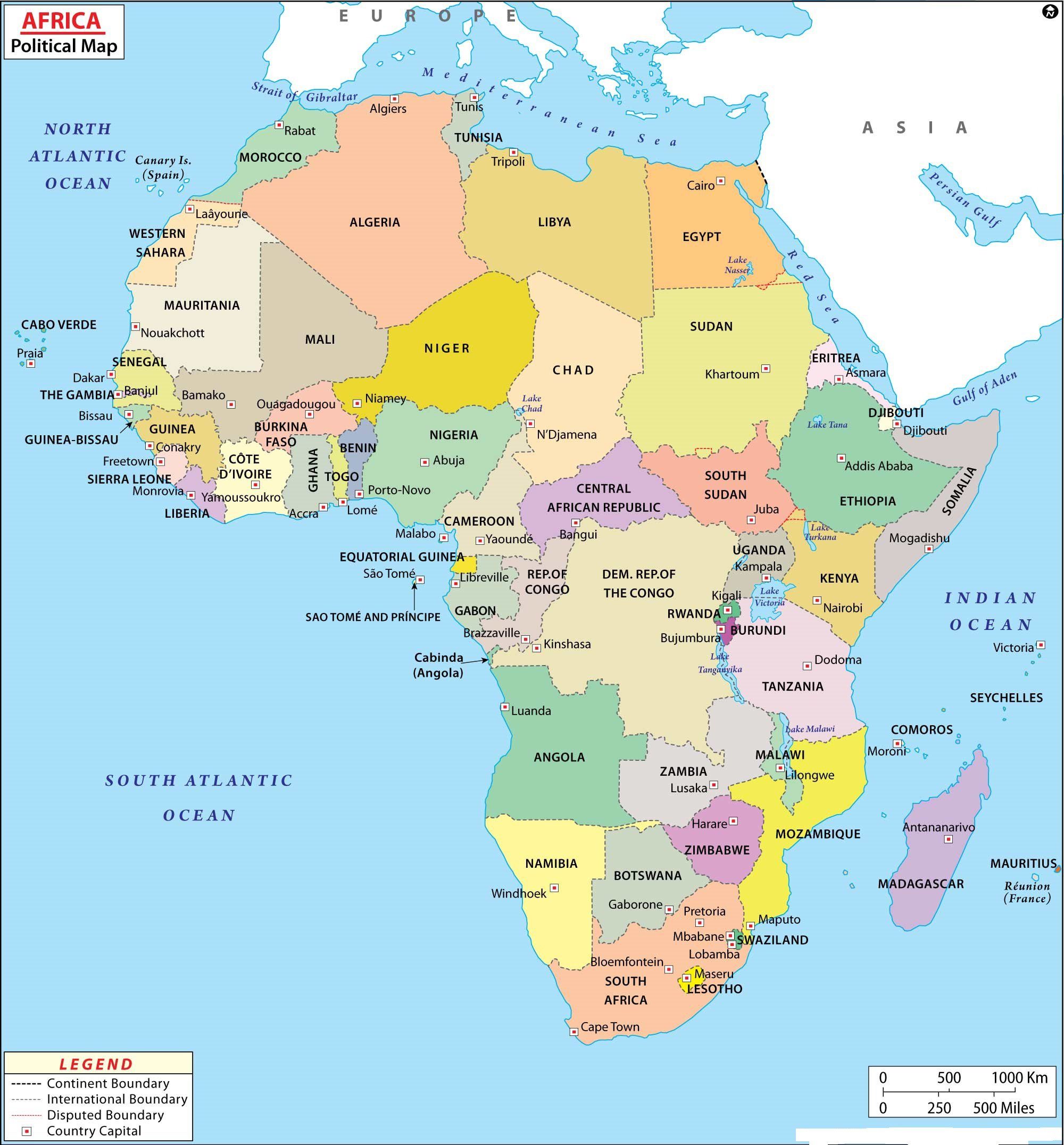 Map of Africa   Printable Large Attractive HD Map of Africa