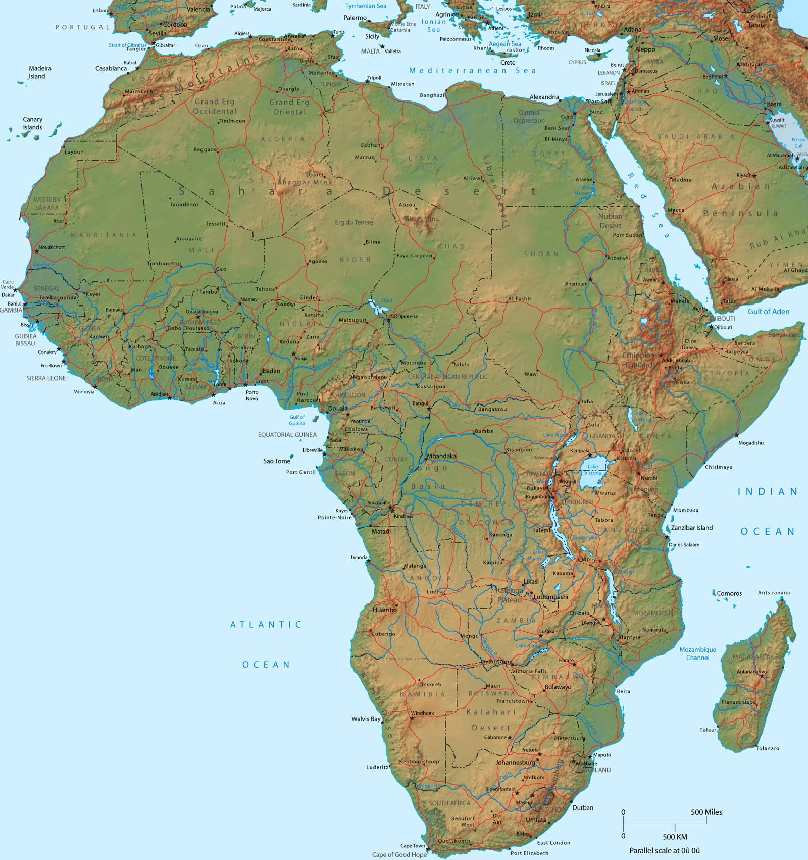 Large Physical Map of Africa
