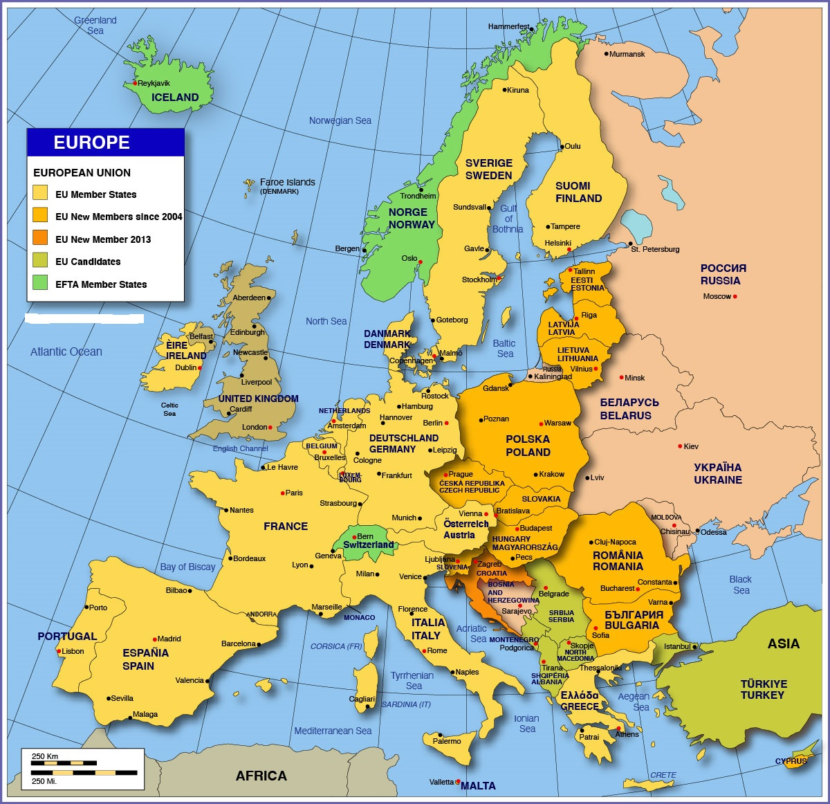 Political Large Map of Europe