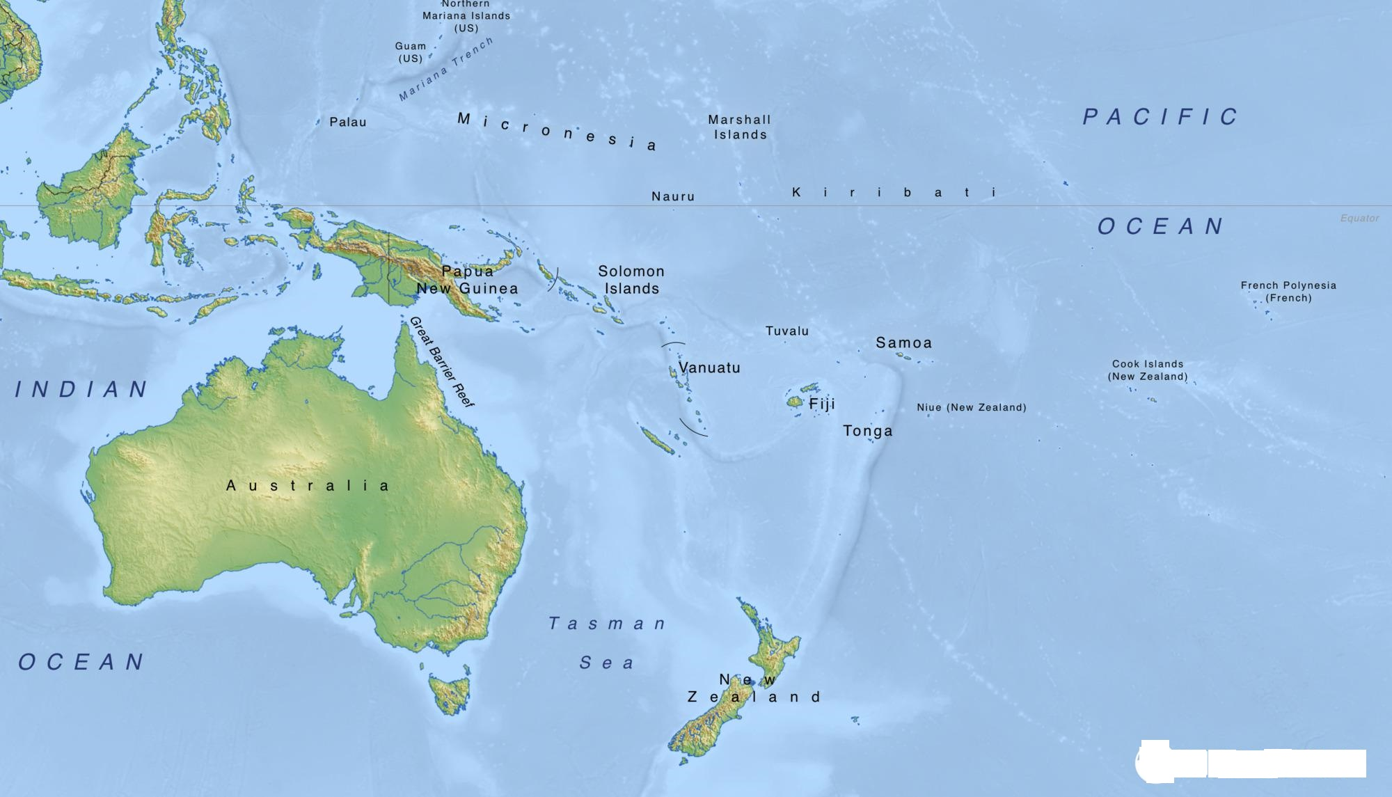 Geographically Oceania is divided into three Sub-Regions: Melanesia, Micronesia, and Polynesia.