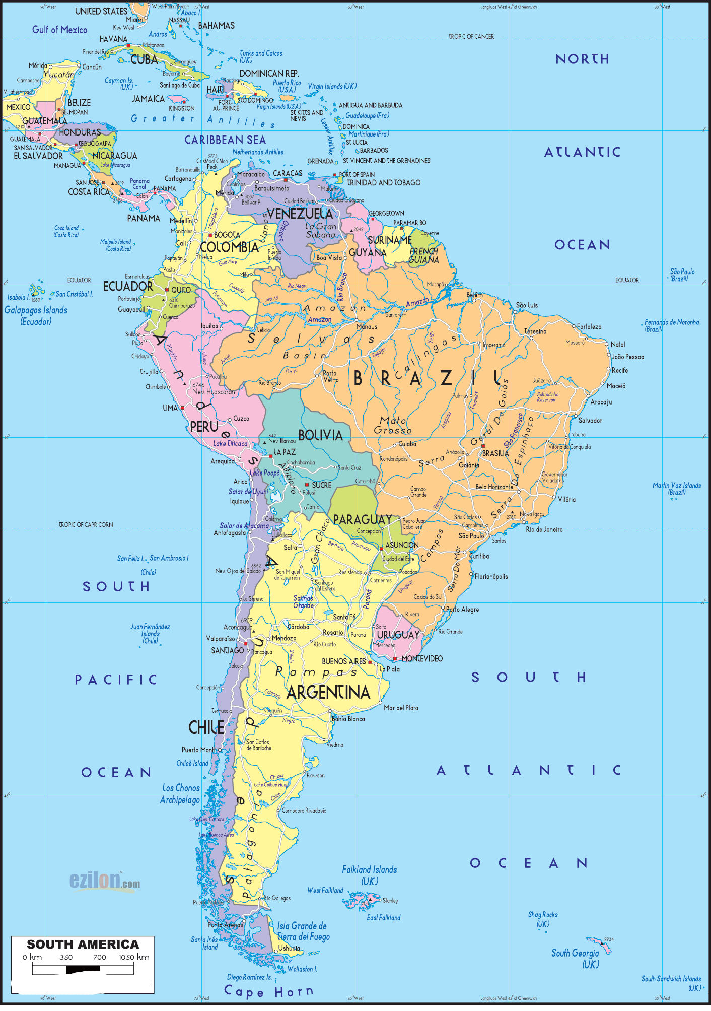 HD Map of South America