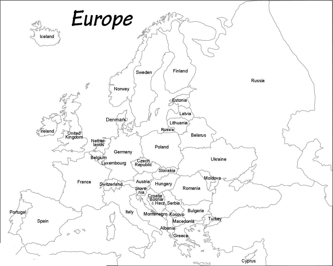 Image of: Outline Map Of Europe Printable Blank Map Of Europe Whatsanswer
