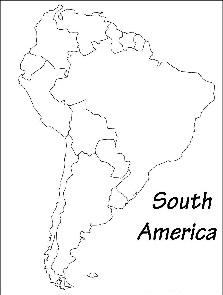 Picture of: Outline Of South America Blank Printable Map Of South America Whatsanswer