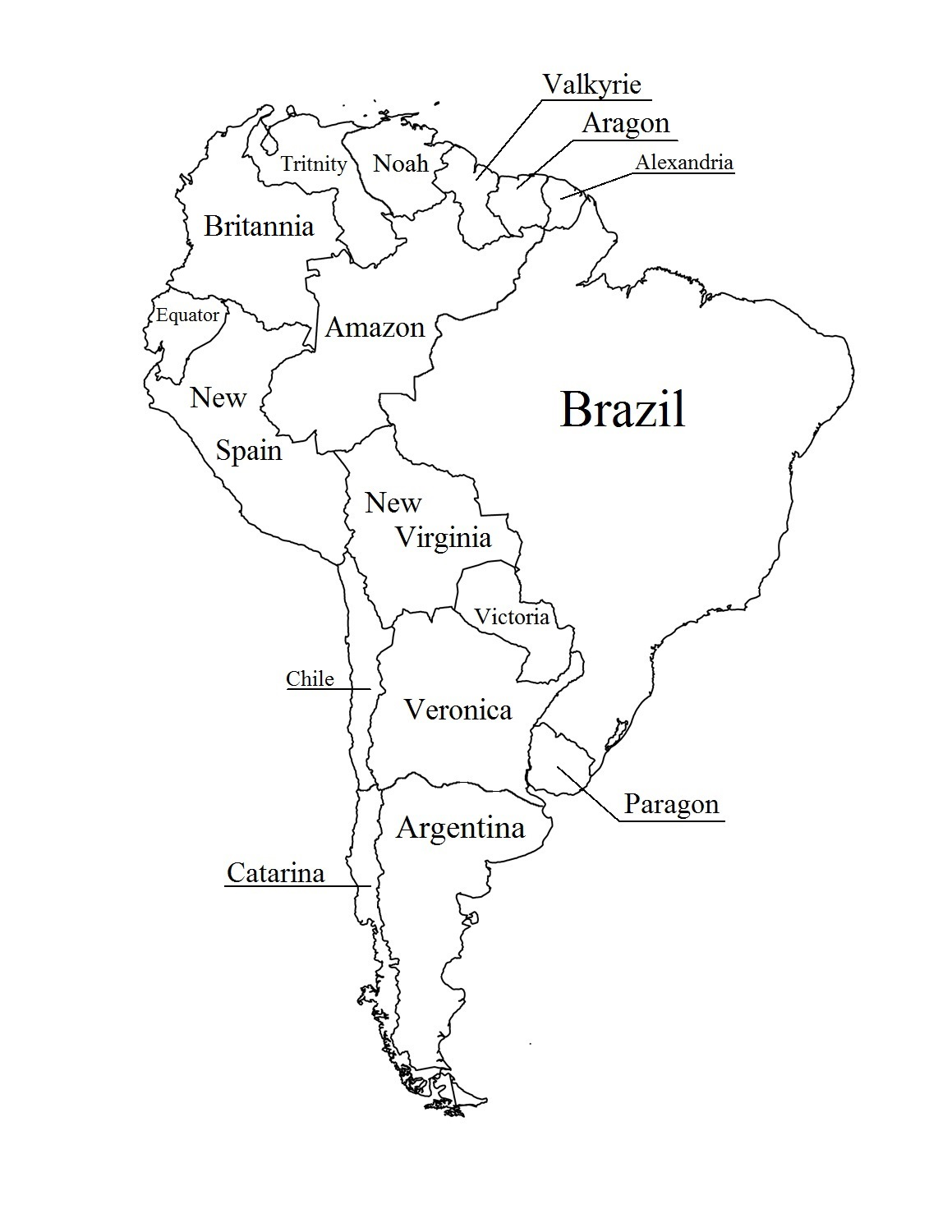 Blank Printable Map of South America
