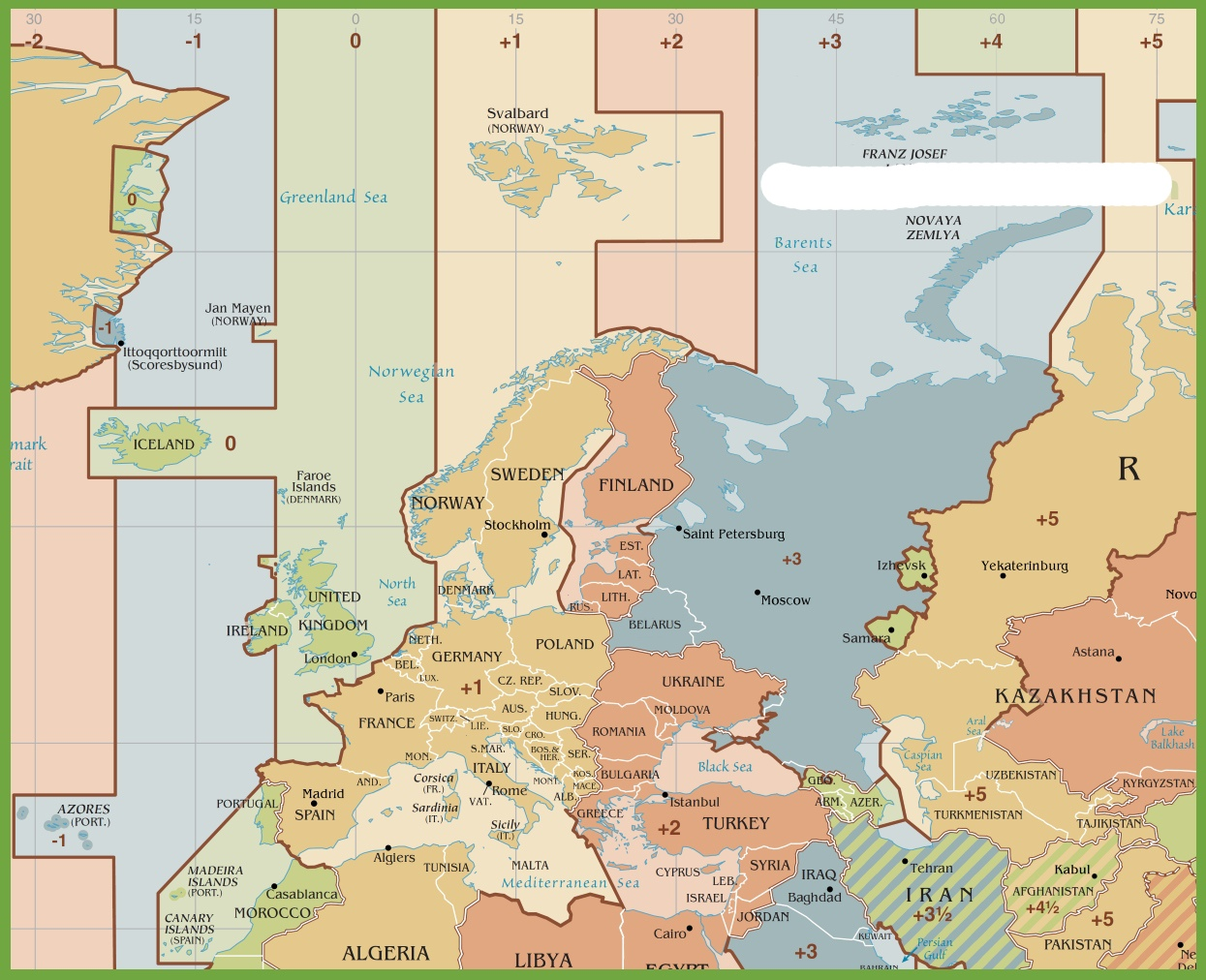 Time Zone Map of Europe   HD Time Zone Map