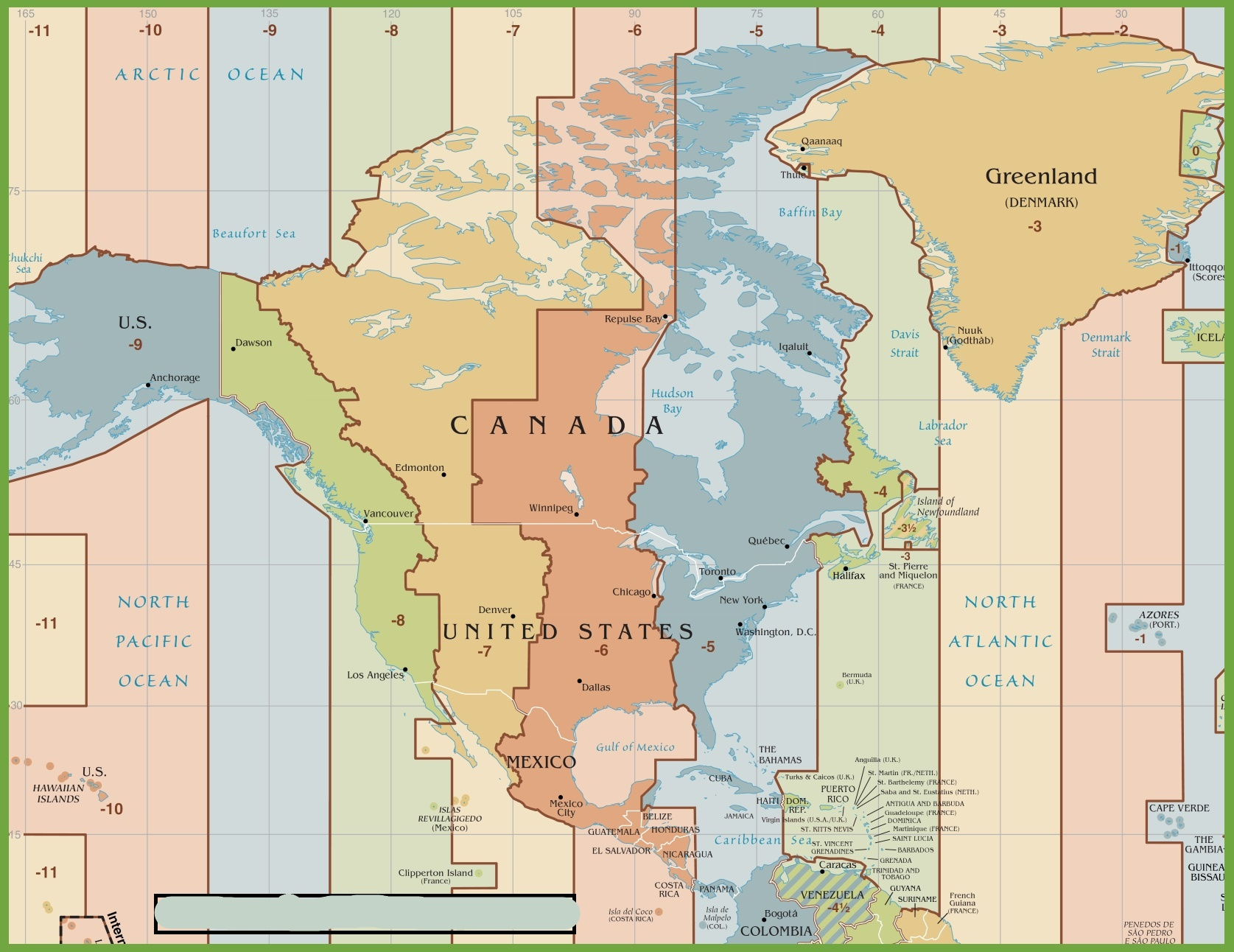 Time Zone Map of North America | HD Time Zone Map