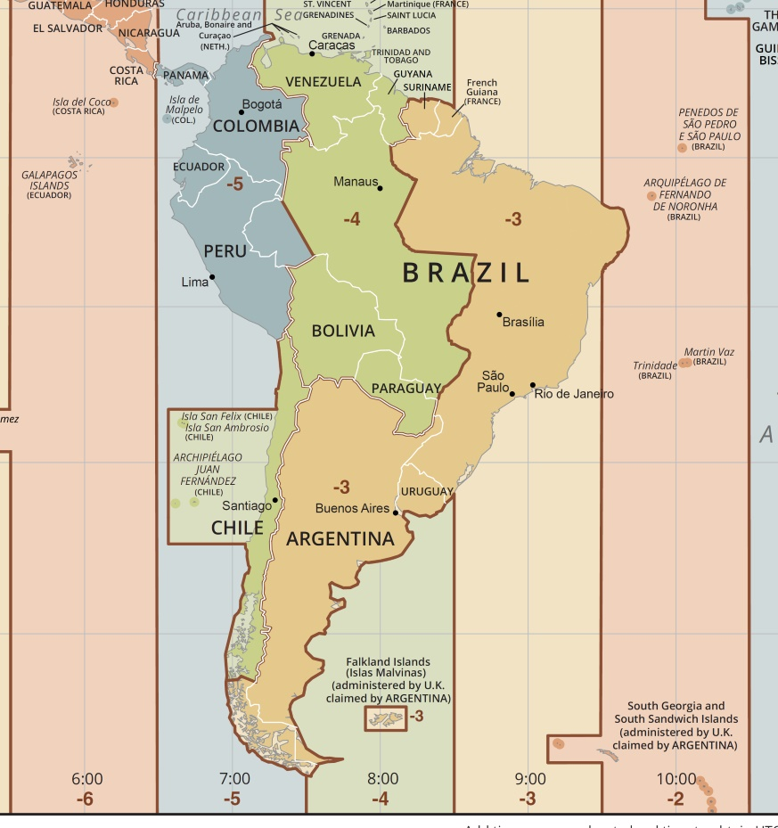 Time Zone Map of South America | South America Time Zone