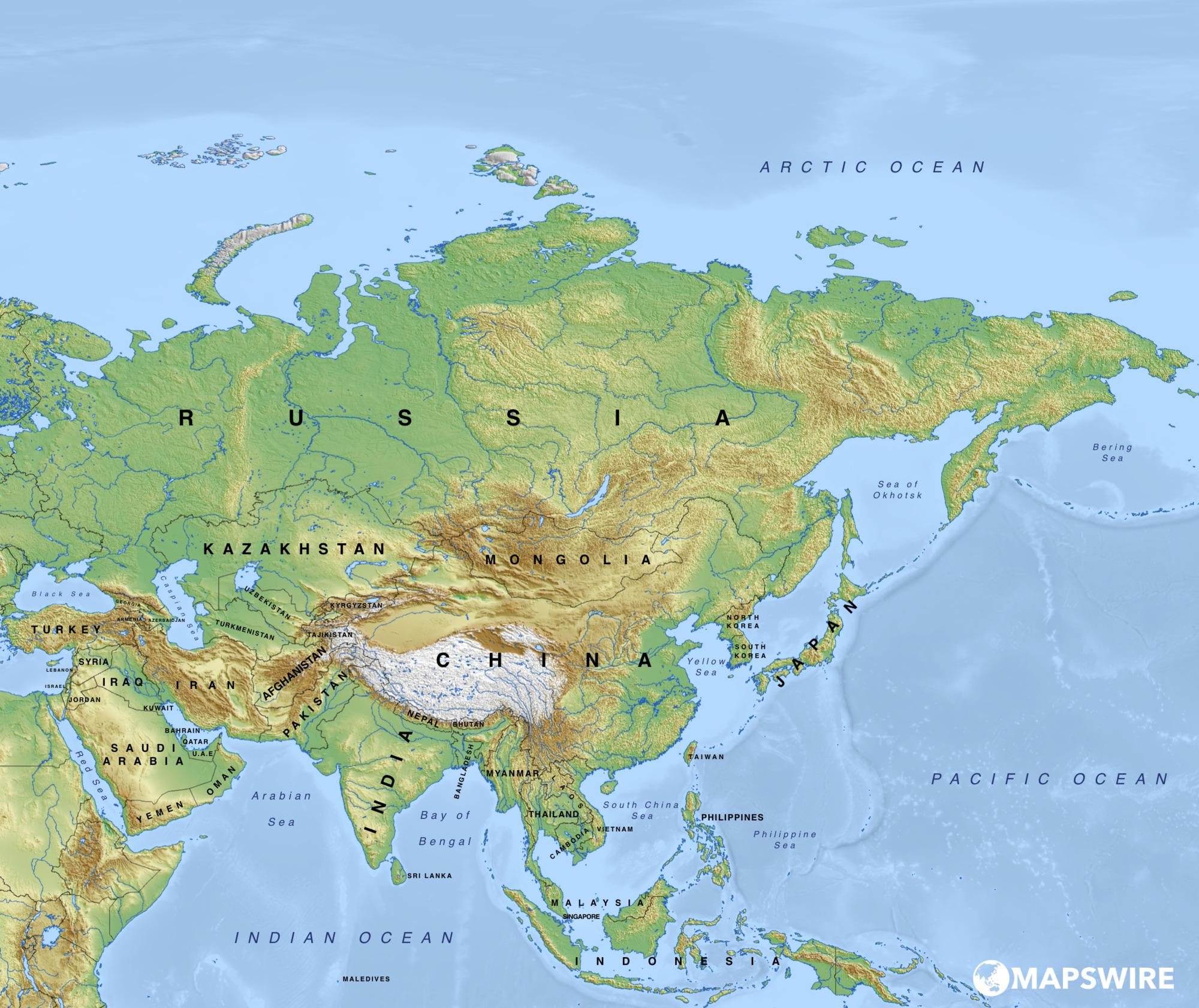 Physical Map of Asia | Asian Geography Map