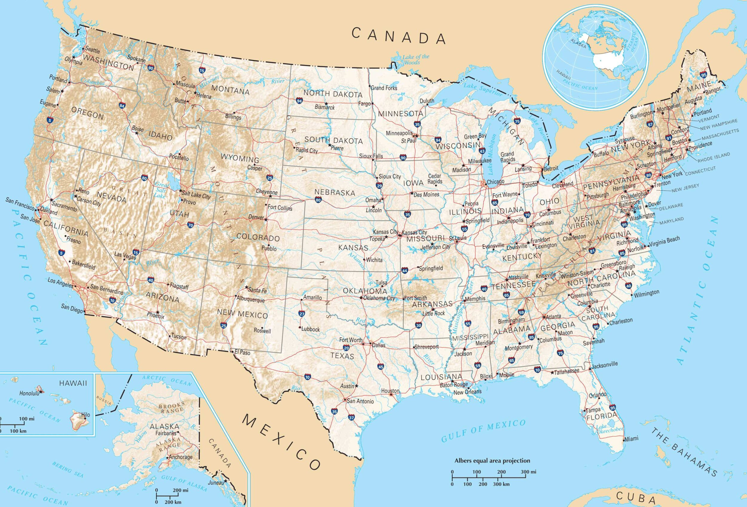 Image of: Road Map Of Usa Interstate Highway Network Map Whatsanswer