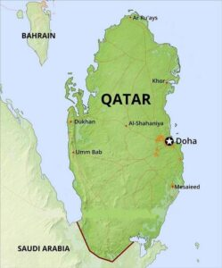 Geography Map of Qatar   Qatar Geographic Features