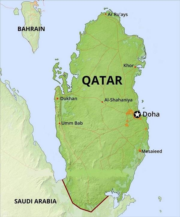 Geography Map of Qatar | Qatar Geographic Features