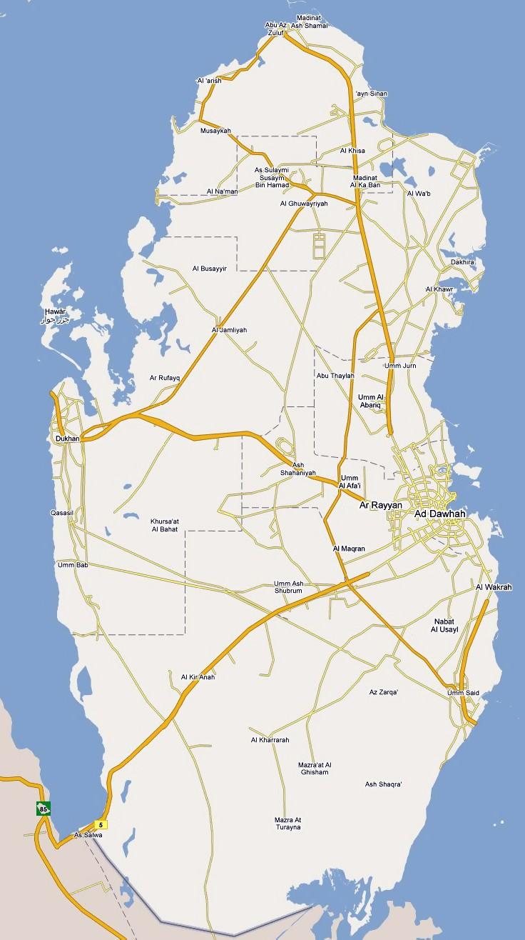 Road Map of Qatar | Qatar Highways Map