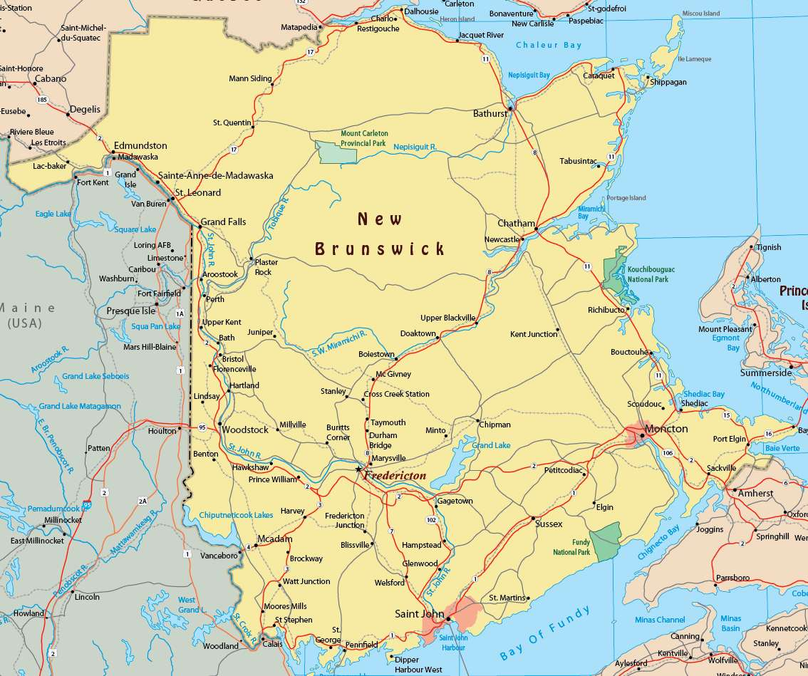 Map of New Brunswick Province   Political, Geography And Cities Map